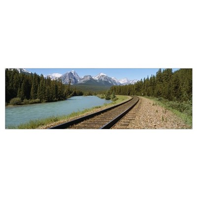 Railroad Tracks Bow River Alberta Canada Poster