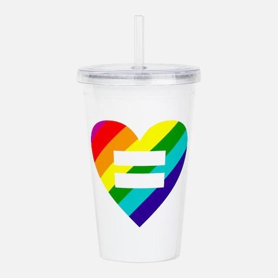 Rainbow love equals lo Acrylic Double-wall Tumbler