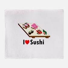 Cute I love sushi Throw Blanket