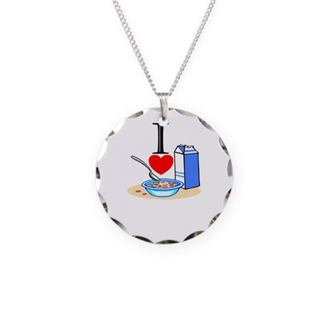I Love Cereal Necklace Circle Charm