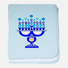 Blue Menorah baby blanket