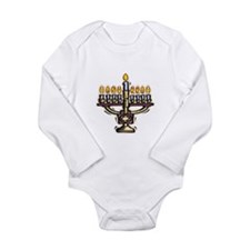 Lit Menorah Long Sleeve Infant Bodysuit