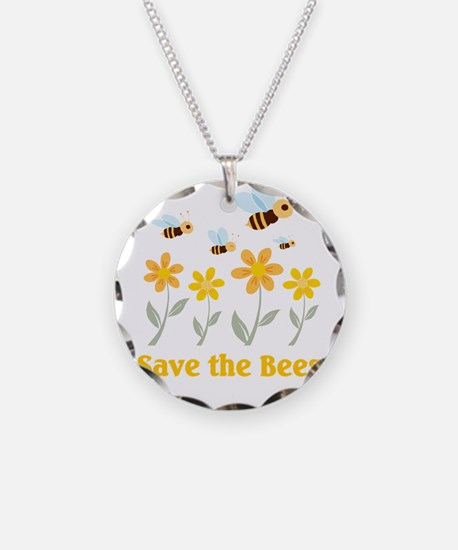 Save the Bees Necklace Circle Charm