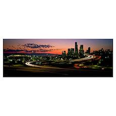 Sunset Puget Sound and Seattle skyline WA Poster