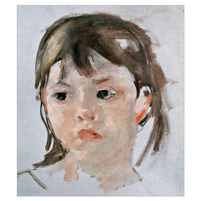 Head of a Young Girl (oil on canvas) Canvas Art