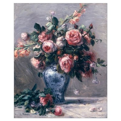 Vase of Roses (oil on canvas) Canvas Art