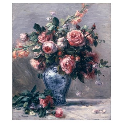Vase of Roses (oil on canvas) Poster