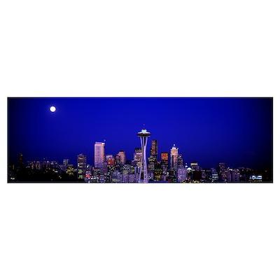 Moonrise Seattle WA Poster