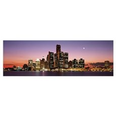 Night Skyline Detroit MI Poster