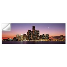 Night Skyline Detroit MI Wall Decal