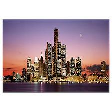 Night Skyline Detroit MI