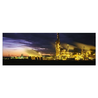 Night Oil Refinery Poster