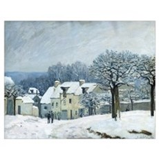 The Place du Chenil at Marly le Roi, Snow, 1876 (o Poster