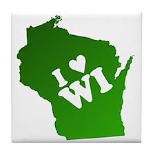 I heart Wisconsin Tile Coaster