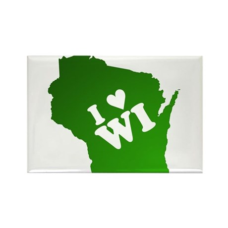 I heart Wisconsin Rectangle Magnet (100 pack)