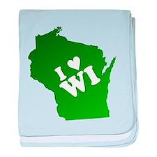 I heart Wisconsin baby blanket