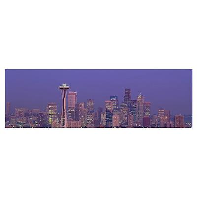 Twilight Skyline Seattle WA Poster
