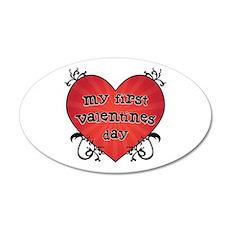 Tattoo Heart 1st Valentines 22x14 Oval Wall Peel
