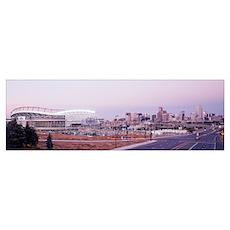 Colorado, Denver, Invesco Stadium, Skyline at dusk Poster