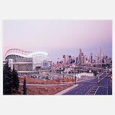 Colorado, Denver, Invesco Stadium, Skyline at dusk