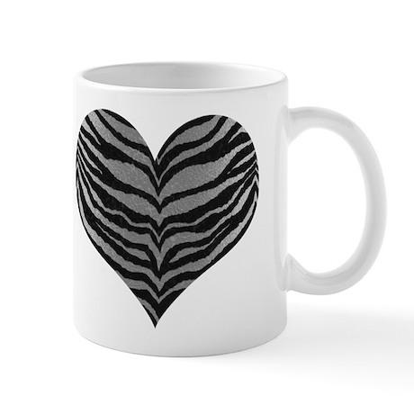 White Tiger Print Heart Mug