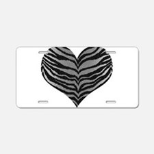 White Tiger Print Heart Aluminum License Plate