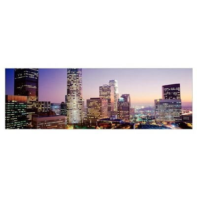 California, Los Angeles, Skyscrapers at dusk Framed Print