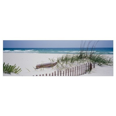 Fence on the beach, Alabama, Gulf of Mexico Poster