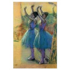 Two Blue Dancers (pastel on paper) Poster