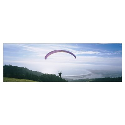 High angle view of a person parasailing, Marin Cou Poster