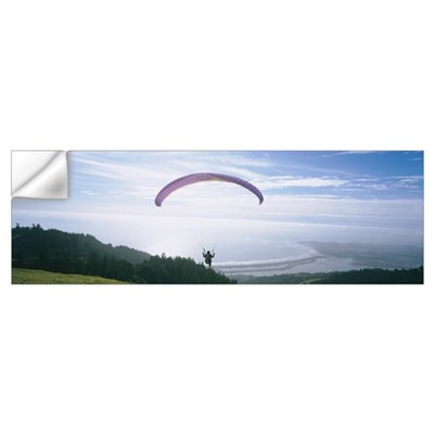 High angle view of a person parasailing, Marin Cou Wall Decal