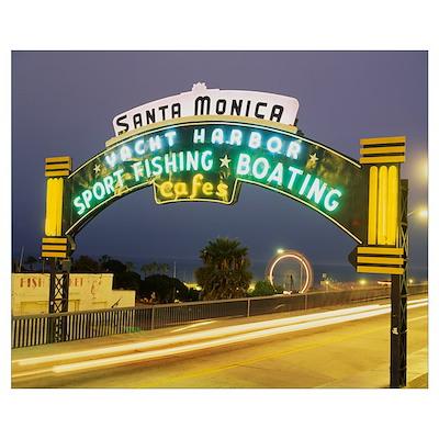 Santa Monica Pier Sign Santa Monica CA Poster