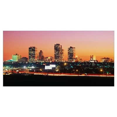 Buildings lit up at dusk, Fort Worth, Texas Poster