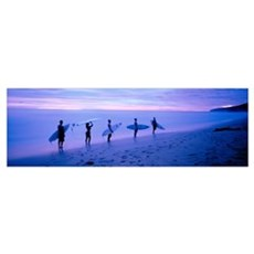 Surfers on Beach Costa Rica Poster
