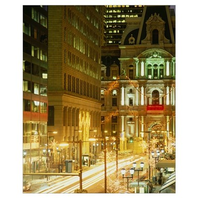 Building lit up at night, City Hall, Philadelphia, Poster