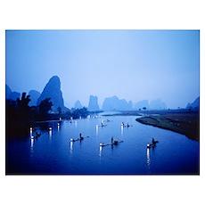 Night Fishing Guilin China Poster