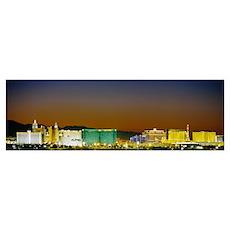 Buildings lit up at dusk, Las Vegas, Nevada Poster