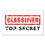 Classified Top Secret Sticker (Rectangle 10 pk)