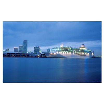 Cruise Ship Dusk Port of Miami Miami FL Canvas Art