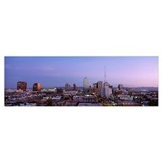 Arizona, Phoenix, Aerial view of the city at dusk Poster