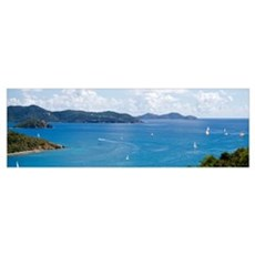 Sailboats in Coral Bay East End St. John US Virgin Poster