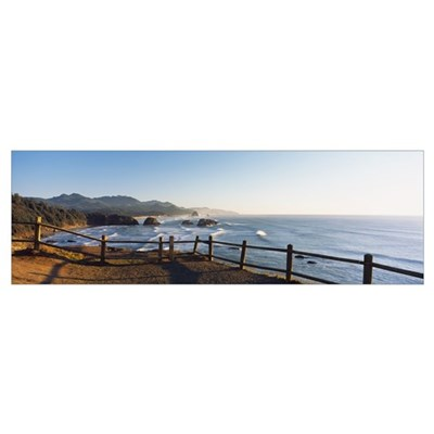 Railing on the coast, Cannon Beach, Oregon Poster
