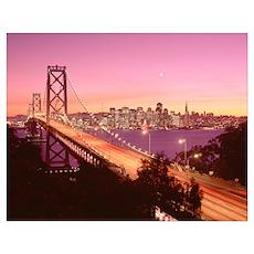 California, San Francisco, Bay Bridge at dusk Poster