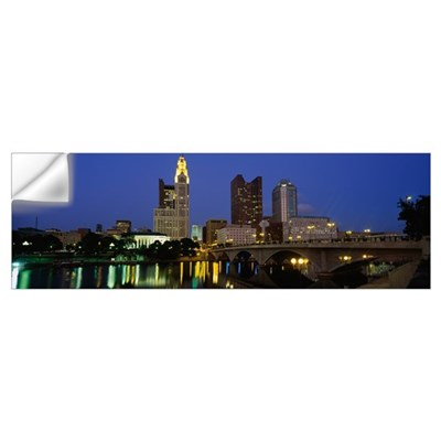 Buildings lit up at night, Columbus, Scioto River, Wall Decal