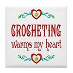Crocheting Warms Hearts Tile Coaster