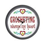 Crocheting Warms Hearts Wall Clock