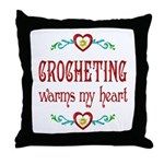 Crocheting Warms Hearts Throw Pillow