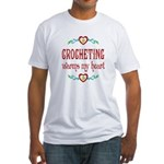 Crocheting Warms Hearts Fitted T-Shirt