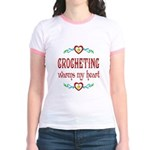 Crocheting Warms Hearts Jr. Ringer T-Shirt