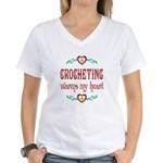 Crocheting Warms Hearts Women's V-Neck T-Shirt